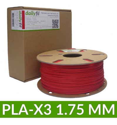 Bobine PLA-X3 1.75 mm rouge dailyfil - 1KG