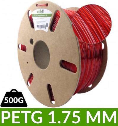 Dailyfil PET-G 1.75 mm Rouge Translucide - 500g