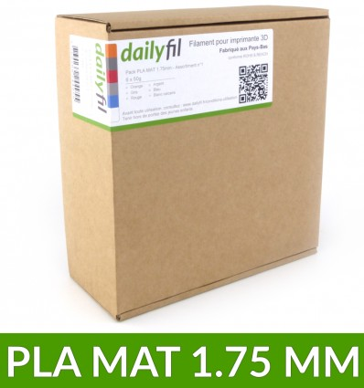 Pack assortiment filament PLA MAT 1.75 mm dailyfil - 6 coloris x50g