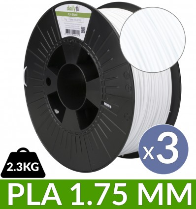 Pack PLA bobine 2.3 kg blanc 1.75 mm dailyfil x3