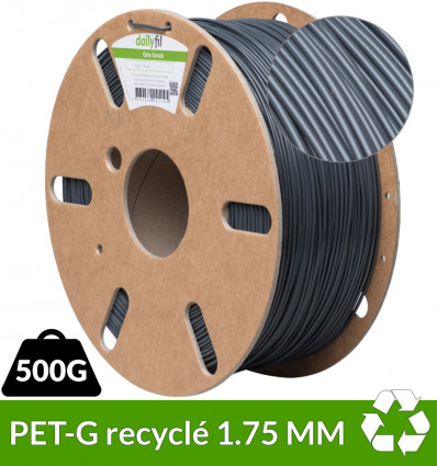Fil PET-G 1.75 mm recyclé gris - 500g dailyfil
