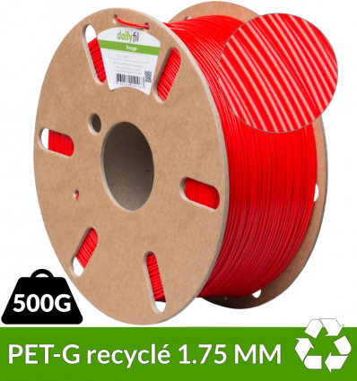 Filament recyclé : PETG 1.75mm Rouge 500g - dailyfil