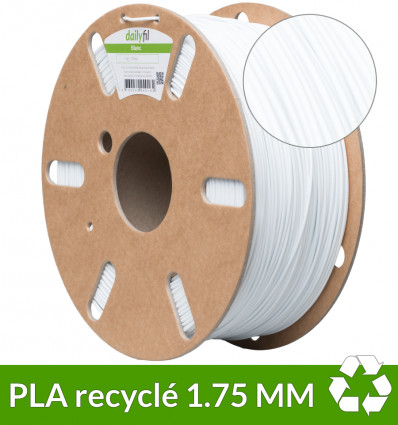 Filament recyclé PLA 1.75mm blanc 1kg - dailyfil