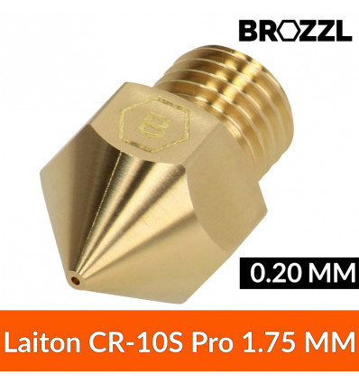 Buse compatible CR-10S Pro Laiton 1.75 mm 0.20 mm - Brozzl